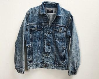 80s 90s Vintage Acid Wash Denim Jacket - Oversized Jean Jacket - Winton Size Large - Stoner Soft Grunge - 90s Jacket
