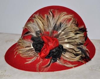 Vintage Red Feather Hat, Vintage Red Wool Hat, Red Vintage Hat, Women's Vintage Hat, Women's Red Wool Hat, Red Wool Feather Hat