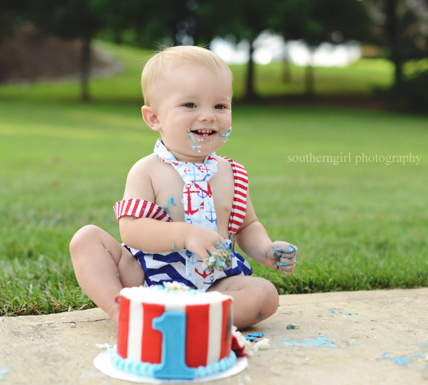 Baby Boy Nautical Cake Smash Outfit 1st Birthday Set Red