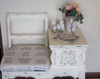 Vintage Telephone Table Gossip Bench Original Farmhouse Decor