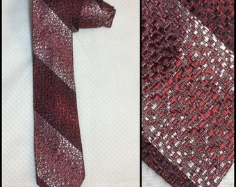 Vintage 1950's Red Black Silver speckled woven Silky Rayon diagonal shadow Striped Necktie Skinny Tie 2.25 inch wide