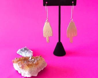 middle finger earrings, eff you earrings, flip the bird earrings, middle finger jewelry, sassy jewelry, best friend gifts, trendy earrings