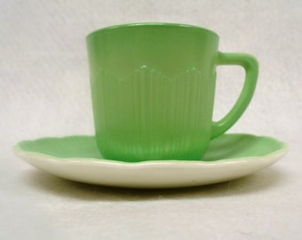 Green Cremax Demitasse Teacup and Saucer, By Corning Glass