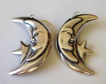 Antiqued Silver Moon Earrings, Crescent Moon Dangle, Large Brass Metal, Celestial Earrings