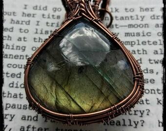 Copper and labradorite wire wrapped pendant