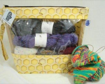 Save the Bees!  Knitting Project Bag, Zippered Project Bag, Knitting Wedge Bag, Yarn Tote Bag, Yarn Bag, Knitting bag,