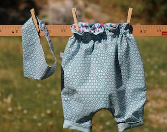Reversible pants ROKKAKU for baby 12 months with bandana bib