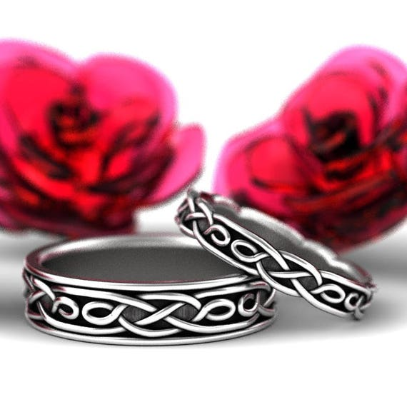 RESERVED FOR Natasha Celtic Wedding Ring Set With Infinity Symbol Pattern in Sterling Silver Custom Made 1210 1211