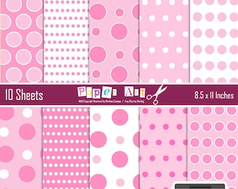 Pink Polka Dots Digital Papers, Digital backgrounds, Scrapbooking Paper, Dots Backgrounds, Printable paper - INSTANT DOWNLOAD