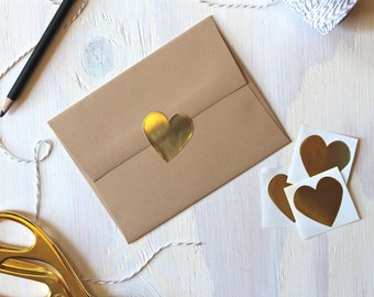 96 1.5 Inch Rustic Gold Foil Heart Stickers | Envelope Seals | Heart Stickers | Gold Foil Stickers | Rustic Stickers | Wedding Stickers