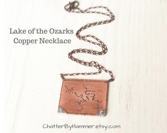 Lake of the Ozarks Copper Necklace, Lake of the Ozarks Jewelry, Lake of the Ozarks Gift Ideas, Lake of the Ozarks, Compass Star Necklace