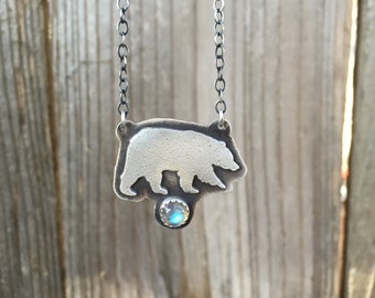 Silver Bear Necklace with Labradorite - Bear necklace - Sterling Silver Bear Necklace - Silver Bear Pendant