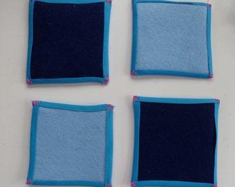 Dark and Light Blue Handmade Felt Coasters