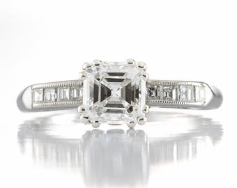 Diamond engagement ring Asscher cut | 1.01 carat center | platinum |  GIA report G Si1 | carre cut diamonds