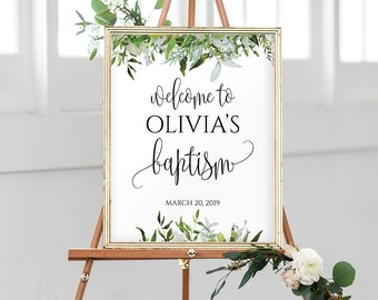 Baptism Welcome Sign, Personalized Baptism Print, Custom Baptism Sign, Gold Baptism Decor, Christening Party Printables, Baptism Party, 1128