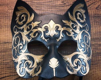 Cat Mask - Black and Gold leather fluer de lis greek victorian steampunk style