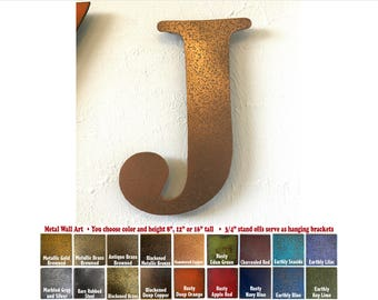"Metal Letter J - 8"", 12"", 16"" or 22"" inch tall - Handmade metal wall art - Choose your Patina Color, Size and Letter or Number - Metal Decor"