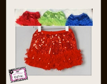 Baby to Big Girls Sequin Shorts w/ Chiffon Ruffles!!