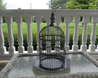 """Vintage Gray Birdcage 16"""" Tall  Metal Floral Container Wedding Decoration Home Decor #405"""