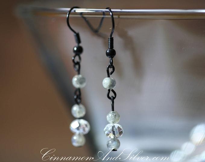 Romantic Sparkling Gray Victorian Labradorite Gemstone Dangle Earrings, Elegant Grey Dangle Labradorite Earrings, Grey Gemtstone Earrings