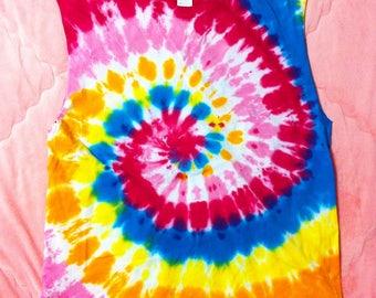 90s Vintage Rainbow Tie Dye Cut Off Tank Top, Vintage Rainbow Tie Dye Shirt, Rainbow Tie Dye Shirt