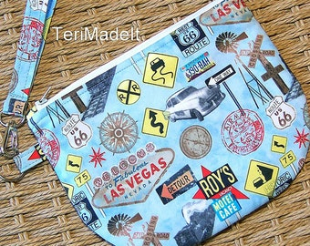Route 66 Zippered Blue Wristlet: vintage road signs small clutch, mid century retro style cell phone wristlet purse, zip bag, gadget pouch