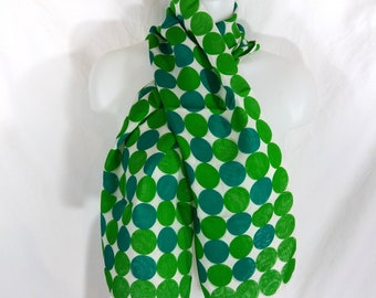 VTG FioRio All Silk Double Layer Scarf Mod Green Polka Dots 10x48 Inches