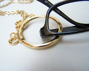 Clasp Less, Eyeglass Necklace, Gold Eyeglass Ring, Silver Eyeglass Loop, Chain for Glasses, by Eyewearglamour