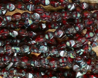 Pinch Beads Transparent Garnet Red with Picasso Finish Czech Pressed Glass 5mm 30 beads