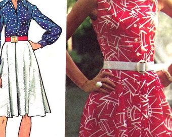 1970s Dress Pattern Simplicity Vintage Sewing Button Front Uncut Women's Misses Size 14 Bust 36 Inches