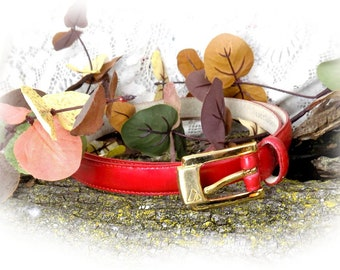 "red belt women -Vintage Red Leather Belt, vintage Liz Claiborne belt -thin red belt -red skinny belt -large belt waist 32 to 36""  - # B 40"