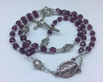 Purple and White Rosary, Prayer Beads, Catholic Rosary
