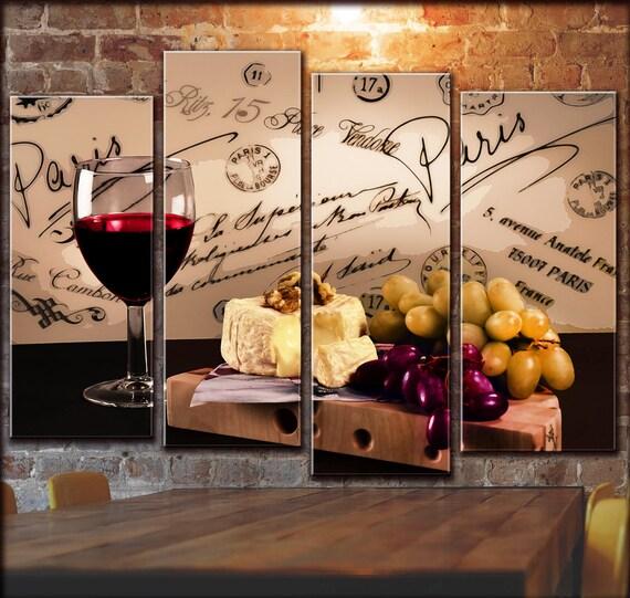 Cocina Vino Pared Arte de la pared Uva Bodega Vino Blanco Arte