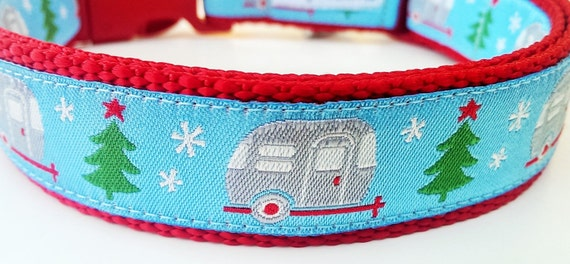 Happy Camper Winter Edition Blue - Dog Collar / Pet Accessories / Christmas / Holiday / Camping / Airstream / Gift Idea