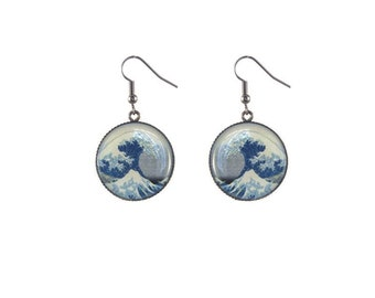 Round wave image earrings