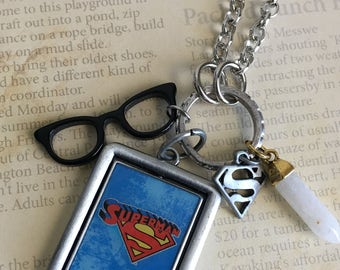 Superman Superhero Caped Crusader Comic Book Hero Silver  Charm Necklace Jewelry