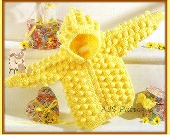 """PDF Knitting/Crochet Pattern for an Aran Popcorn Stitch Hooded Coat 14 to 26"""" Chests - Instant Download"""