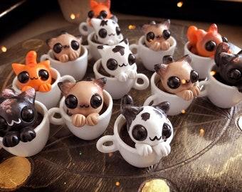 Catpuccino Cups // Kitty cat kawaii coffee tea sculpture cute cafe cappucino