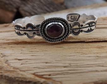Hand stamped sterling silver and faceted Sapphire cuff bracelet