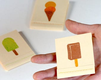 3 Handmade Matchbook Notepads, Ice Cream MIni Notebooks, Tiny Popsicle Books