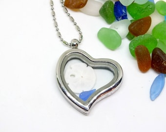 Sea Glass Locket, Heart Locket, Seaglass Jewelry, Lake Jewelry, Sea Glass Gift, Silver Heart Jewelry, Gift For Mom