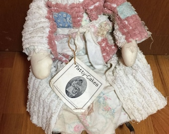 Vintage Cloth Doll Patty Cake Handcrafted Tia Chenille Robe Appalachia Primitive
