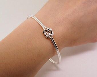Sterling Silver Love Knot Bracelet - Infinity Bracelet Gift for Her - Celtic Knot Bracelet - Bracelet Femme - Dainty Bracelet