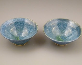 Ceramic Bowls - set of two - Blue Green Glaze