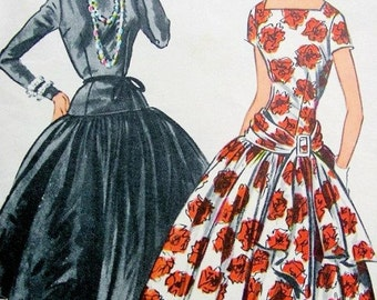 50s McCalls 3100 Grace Kelly Dress Pattern Dress Worn For First Meeting with Prince Rainier Bust 32 Vintage Sewing Pattern RARE