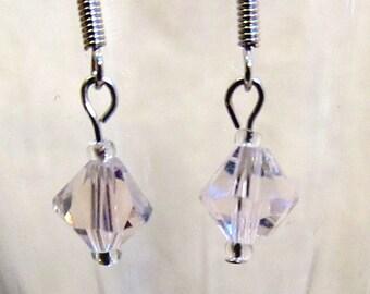 Girls Light Pink Crystal Drop Earrings