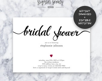 Simple Bridal Shower Invitation | INSTANT DOWNLOAD | Editable PDF| Do It Yourself | Printable