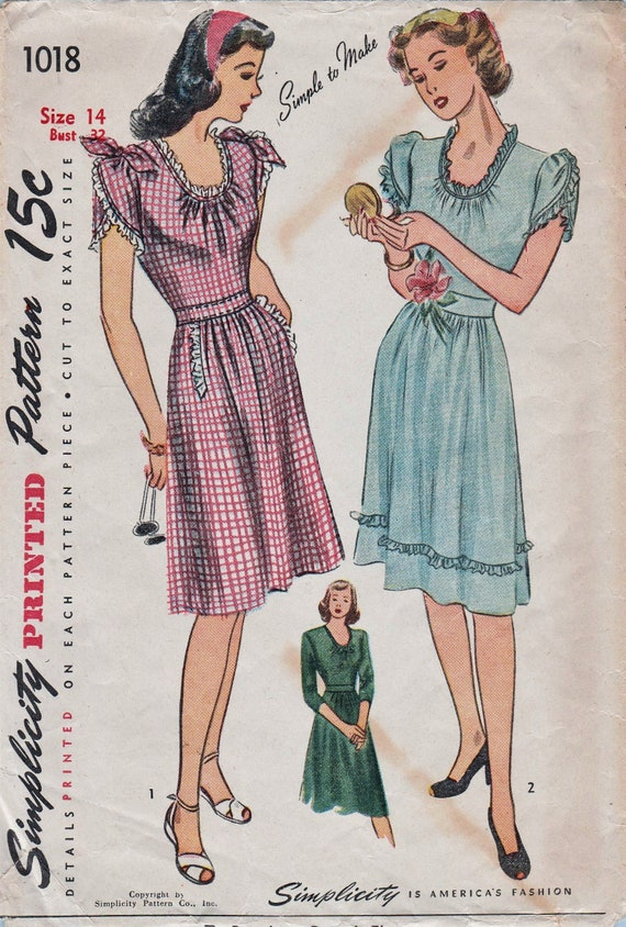Einfachheit der 1940er Jahre 1018 / Vintage Schnittmuster /