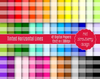 75% OFF Sale - 42 Digital Papers - Tinted Horizontal Lines - Instant Download - JPG 12x12 (DP228)