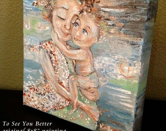 """original 8x8"""" painting on deep canvas ~ To See You Better"""